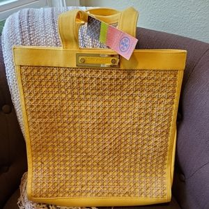 NWT Tory Burch Small Yellow Canvas Wicker Tote